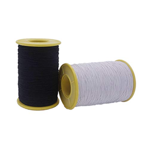 2 Roll 0.5mm Thickness White and Black Elastic Thread,437 Yard