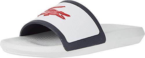 Lacoste Men's Croco Slide Sandal, White/Navy/Red, 10 Medium US