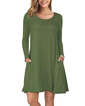 KORSIS Women Long Sleeve Tops T-Shirt Dress Round Neck Casual Loose Dress ArmyGreen M