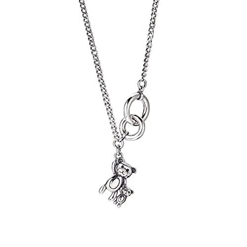 Colgante de collar ZIYUYANG, collar de osito pequeño de círculo doble vintage de plata esterlina