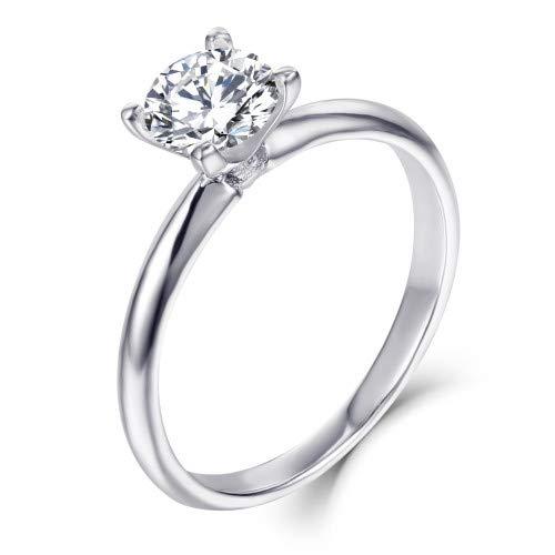 Starchenie 1.0ct Moissanite Ehering für Frauen,14Karat Weißgold zertifiziert Verlobungsring mit Schmuckkästchen