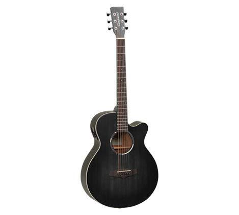 Tanglewood TWBBSFCE Blackbird Super Folk Elektroakustische Gitarre mit Cutaway – Smokestack Black Satin