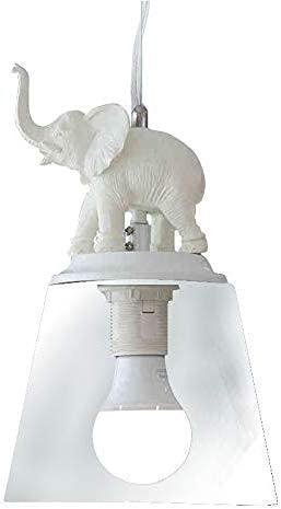 Lámparas de decoración del hogar Lámpara Colgante Vidrio E27 Luces de suspensión Ajustables en Altura Resina Blanca Diseño de decoración de Elefante Accesorio Colgante para habitación de niños Co