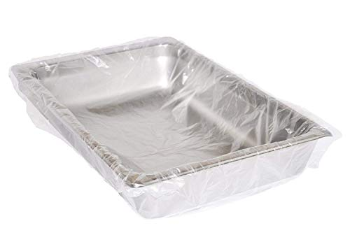 APQ Pack of 2000 Steam Table Pan Liners with Twist Tie 34 x 25 for Full Pan. Disposable Polyethylene Pan Liners 34x25. Poly Bun Pan Covers for Caterers, Cafeterias, Restaurants.
