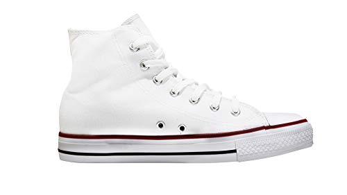 Mapleaf - Zapatos con suela de caucho auténtico, simple y clásico para hombres y mujeres, Blanco (blanco), 43 EU X-Étroit