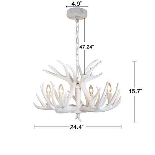 MYJHUIY Amerikanische Ländliche Geweih Kronleuchter Resin Und Stoff Lampenschirm Hängeleuchte LED Esstisch Pendellampe Antlers,Hirschgeweih deko 4 Lichter(Ohne Glühbirne)