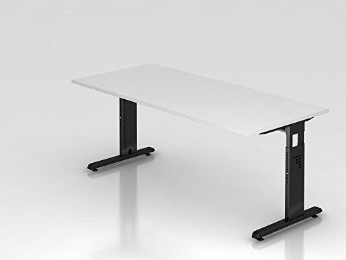 Schreibtisch C-Fuß 180x80cm, Weiß/Schwarz