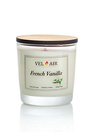 VEL AIR. Vela Arómatica French Vanilla, (vainilla francesa) Cera de soya, Ecologicas. 250 gr/ 9 oz.