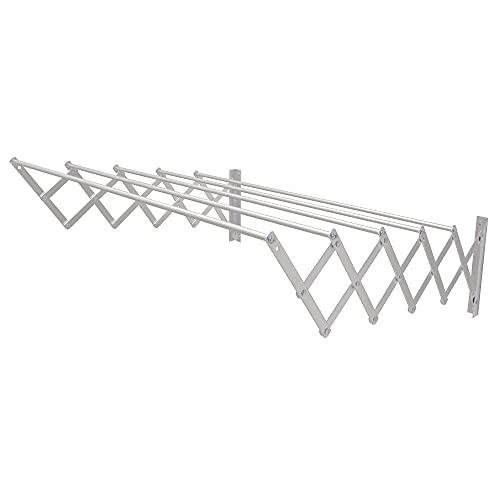 Amig 3269- Tendedero extensible para pared Modelo 1, Aluminio, Acabado inoxidabl, 160x14x3cm