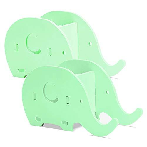 2 piezas con forma de elefante y soporte para lápices de escritorio, tableros de plástico FineGood, de madera, multifuncionales con soporte para teléfono celular para adultos de oficina, niños - Verde