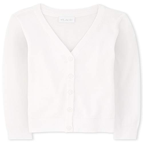 The Children's Place Girls' Uniform V Neck Cardigan White M (7/8)