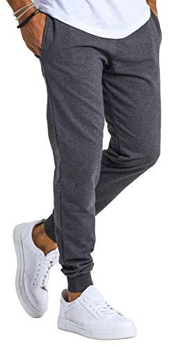Björn Swensen Jogginghose Herren Baumwolle Jogging Hose Männer Sporthose lang Freizeithose Trainingshose Jogger Slim Fit BS3001 Dunkel Grau Large