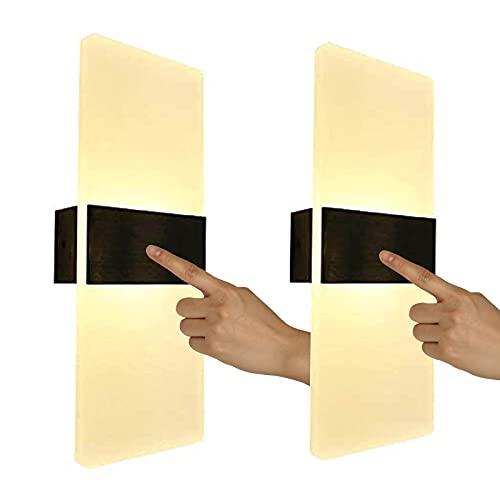 LED Lámpara de Pared con Interruptor Táctil Sensor Regulable Aplique de Pared Interior Portátil Sin Cable Paredluces USB Recargable Magnético Luz Nocturna 3000K para Dormitorio Negro VOMI