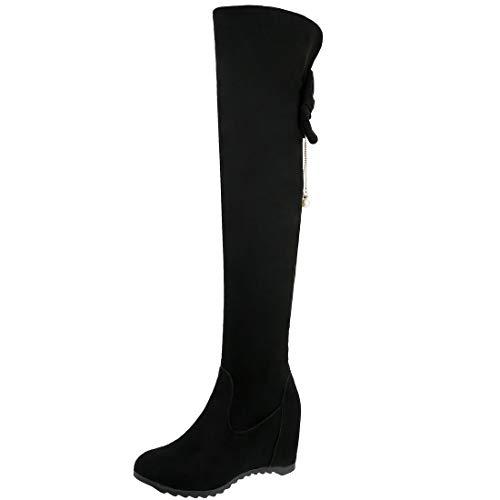 AIMODOR Damen Keilabsatz Overknee Stiefel High Heels Langschaft Stiefel mit Schleife schwarz 42