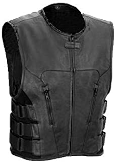 The Nekid Cow Mens Premium Black Leather Motorcycle Swat Team Vest with Interior Armor - Tactical Outlaw Black Biker Vests for Men - Law Enforcement Style Protective Armor with Side Adjustment (L)