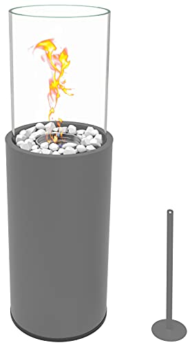 Runder freistehender Bio-Ethanol Stand-Kamin 80.5 x 26.5 x 26.5 cm schönes Flammenspiel Indoor Outdoor Bodenkamin Terrasse Feuer Windlicht Gartenfackel Balkon Glasfeuer Feuerkorb