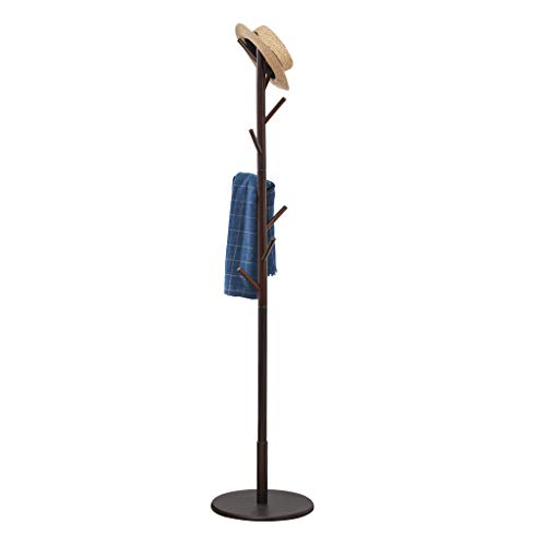 Vicllax Coat Rack Stand 8 Hooks Wood Clothes Rack Stand Hanger Free Standing Hall Tree (Coffee)