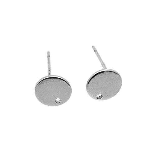 HooAMI 10 stks roestvrij staal zilver schijf oorstekers met gat oorbel bevindingen