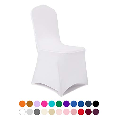 Peomeise 100pcs Stretch Spandex Chair Cover for Wedding Party Dining Banquet Event (White, 100)