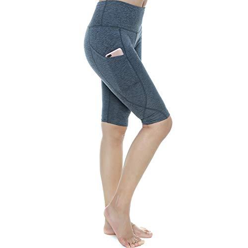 YOGAFEEL Leggings de cintura alta para mujer con bolsillos - gris - M
