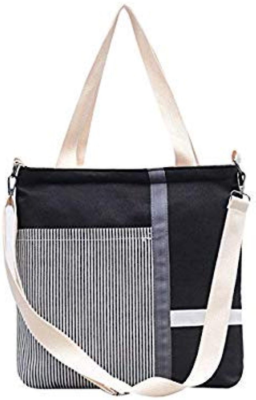 Bloomerang New Women Canvas Bag Bohemian Style Striped Shoulder Bag Large Casual Women Handbags Zipper Messenger Bags Female Casual Tote color Black