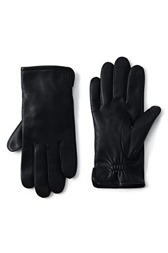 Lands' End Mens Cashmere Lined EZ Touch Leather Glove Black Regular Medium