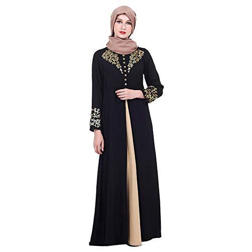 Meijunter Muslimisches Kleid für Damen - Golddruck Kleider Arabisches Langarm Abaya Ethnisches Kostüm Dubai Kaftan für Ramadan Schwarz XXL