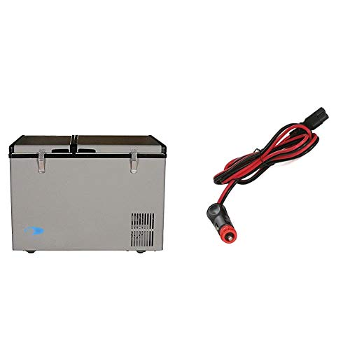 Whynter 62 Quart Dual Zone Portable Fridge, AC 110V/ DC 12V True Freezer, RV-8° F to 50° F, One Size, Gray & 10-Foot DC Power Supply Cord for Portable Refrigerator Models FM-45G, FM-65G and FM-85G