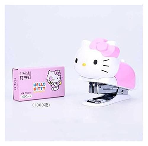 xinlianxin Mini grapadora de papel para encuadernar con diseño de gato, diseño creativo y bonito, portátil, juego de grapas para estudiantes, papelería escolar, suministros de oficina (color: rosa)