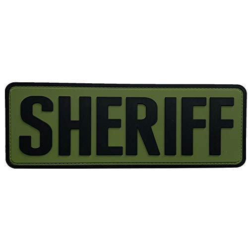 uuKen Large Sheriff Patch 8.5'x3' for Tactical Vest Police Law Enforcement Plate Carrier (Black and Green)