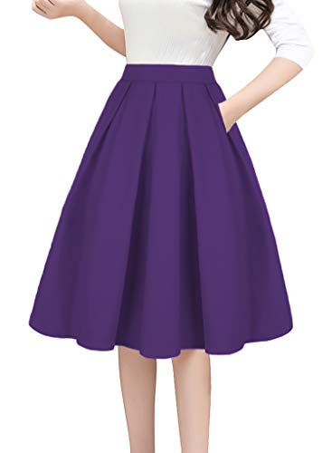 Tandisk Women's Vintage A-line Printed Pleated Flared Midi Skirts with Pockets (Purple, XL)