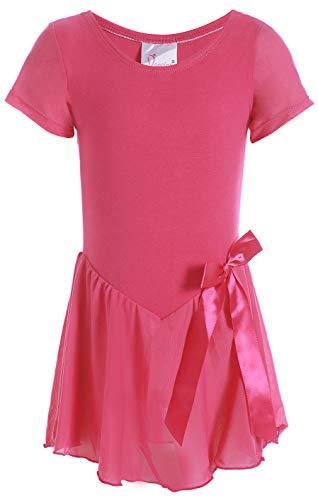 Dancina Mädchen Kurzarm Ballettkleid Ballettanzug mit Rock 128/134 Pink.