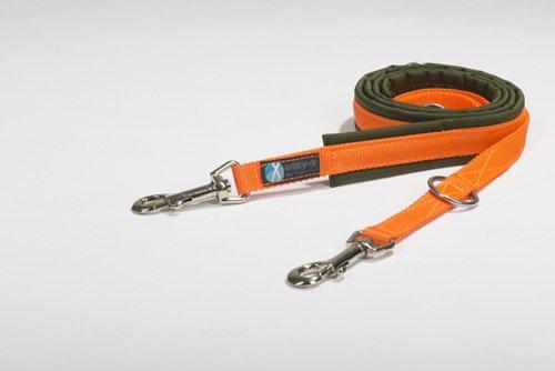 anny-x gepolsterte Führleine 2,0 cm Oliv orange - grosser Karabiner