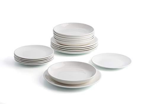 Bidasoa Angelo Vajilla porcelana blanca 18 piezas completa y moderna (platos llanos, hondos y postre), Packaging reforzado
