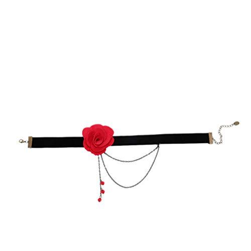 Fenical fleur exquise encolure en dentelle dentelle foulard floral collier belle fille pour femme fille dame (rouge)