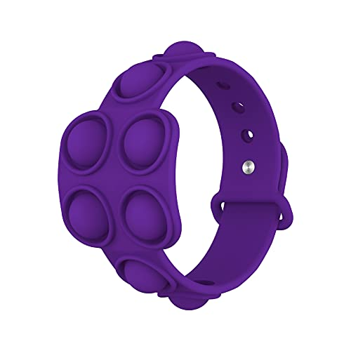 Pulseras de silicona de descompresión, alivio del estrés, pulseras de goma de burbujas – Presione las pulseras de burbujas para niños adultos juguetes sensoriales Fidget juguete púrpura