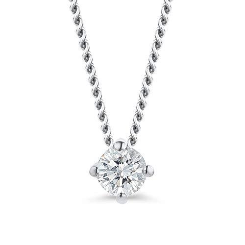 Orovi Ciondolo Donna con Diamante taglio Brillante Ct. 0,07 Collana Punto Luce in oro Bianco 18k 750 con Diamante Solitario, catena in Oro 18K 750 Lunga 45Cm