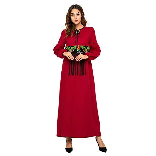 YCQUE Kleid FüR Frauen, Frauen Muslim Ramadan Edles Folk-Custom Kaftan Kleid Rote Tassel Abaya...