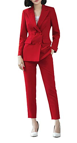 SUSIELADY dames broekpak 2-delig twee rijen slim fit business bruiloft party pak