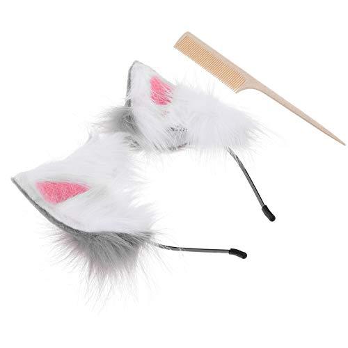 FRCOLOR 2 Piezas Faux Fur Zorro Gato Orejas de Lobo Diadema con Peine Cosplay Fiesta Disfraz Accesorios Diadema Accesorios para El Cabello para Adultos Nios Gris