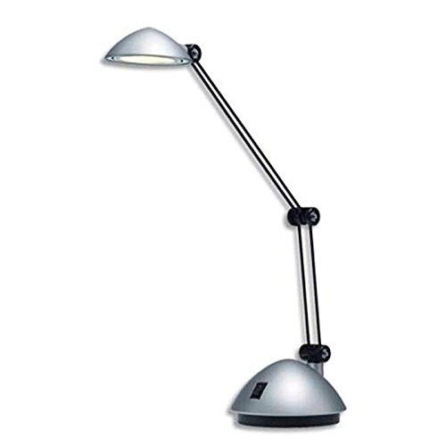Lampe à led Space agenté satiné métal et ABS - Bras 17 et 26 cm, Tête D9,5 cm Socle D13 cm
