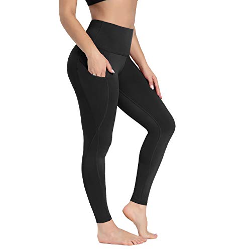 HIGHDAYS Leggings with Pockets for Women - High Waist Plus Size Yoga Pants for Workout Athletic Hiking Running Gym (Black, Large)