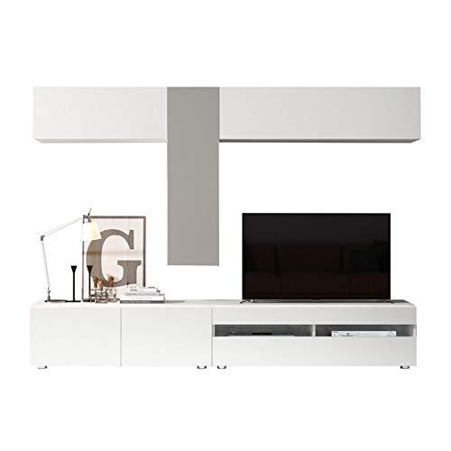 Tousmesmeubles Composition TV Bois Blanc/Laque Taupe Clair - Camelia - L 255 x l 45 x H 185 - Neuf