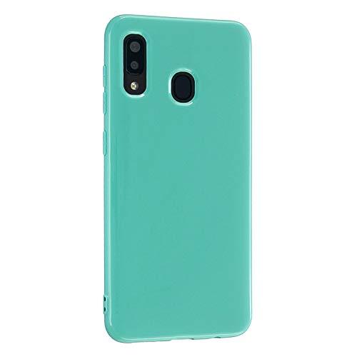 CrazyLemon Hülle für Samsung Galaxy A20e, Niedlich Volltonfarbe Gelee Design Weich TPU Silikon Slim Dünn Handyhülle Stoßfest Schutzhülle - Himmel blau