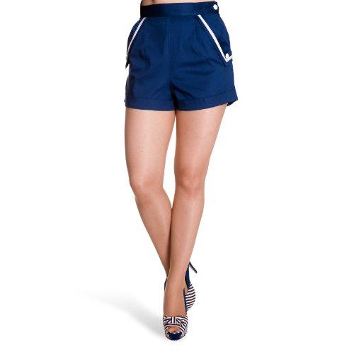Hell Bunny Short marineblau kurze Hose Strand leichte Sommer Mode Matrosen Stil - L