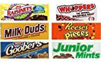 Movie Theater Candy Bundle (Pack of 6) includes 1 Milk Duds, 5 ounce, 1 Whoppers, 5 ounce, 1 Junior Mints, 3.5 ounce, 1 Goobers, 3.5 ounce, 1 Reese's Pieces, 4 ounce, 1 Raisinets, 3.5 ounce