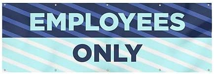 12x4 CGSignLab Employees Only Stripes Blue Heavy-Duty Outdoor Vinyl Banner