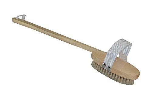 A1SONIC® Brosse de bain en bois avec poils naturels, manche en bois amovible pour exfolier le dos, le corps et les pieds, élimine les peaux mortes sèches et favorise une peau saine et lisse (lot de 1)