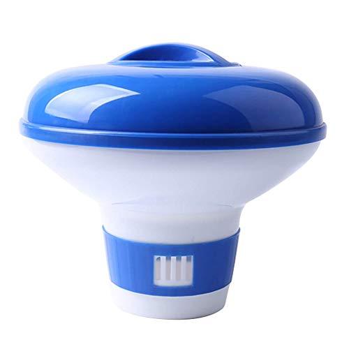 Piscina Flotador químico Cloro Bromo Tabletas Dispensador flotante Aplicador Spa Suministros para bañera de hidromasaje Azul con blanco