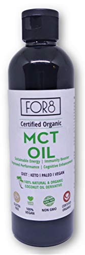 FOR8 Organic Certified MCT Oil – Keto, Paleo, Vegan Diet | Instant Energy | Weight management – 250 ml